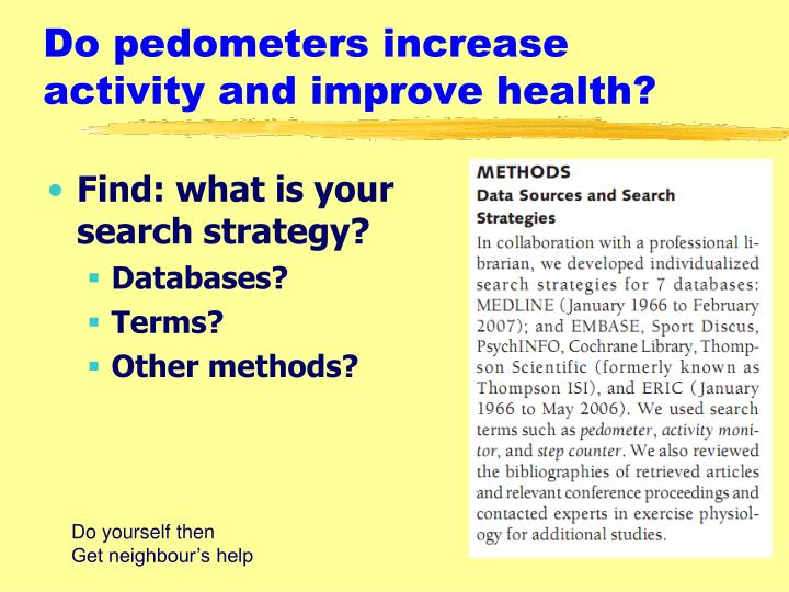 Do pedometers increase activity and improve health?