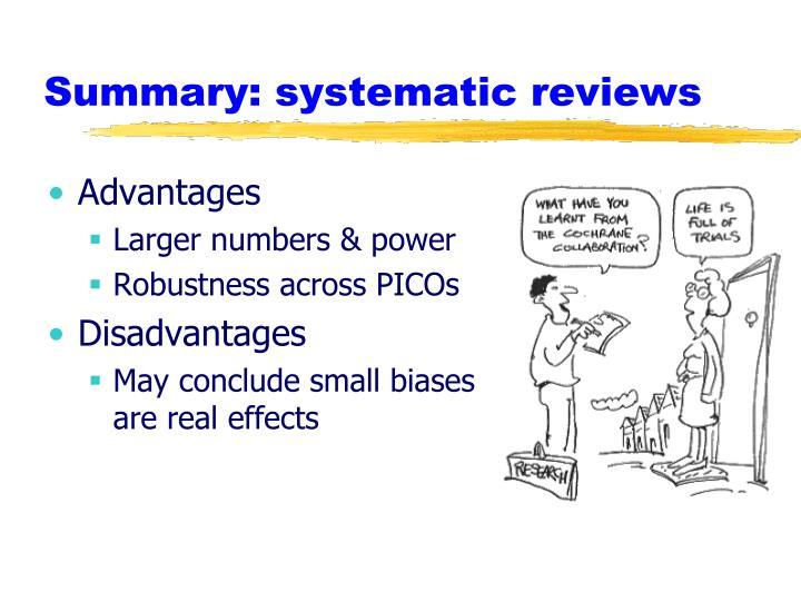 Summary: systematic reviews