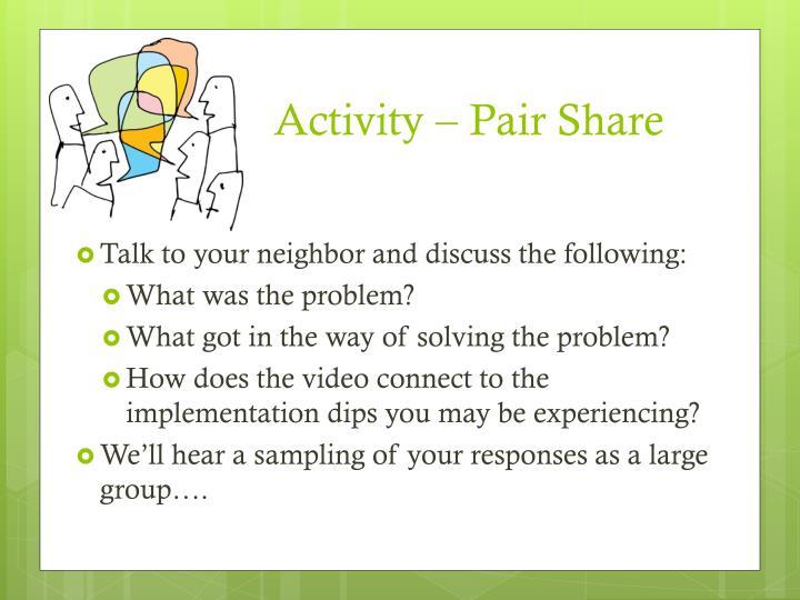 Activity – Pair Share