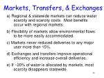 markets transfers exchanges