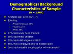 demographics background characteristics of sample n 1 404