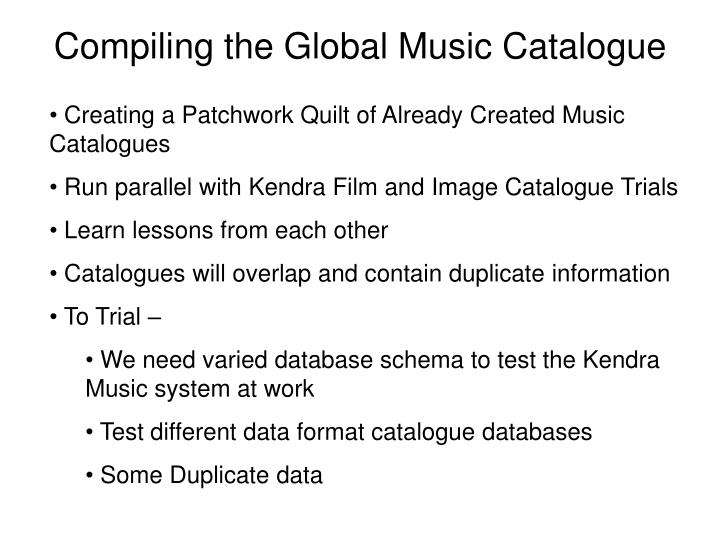 Compiling the Global Music Catalogue