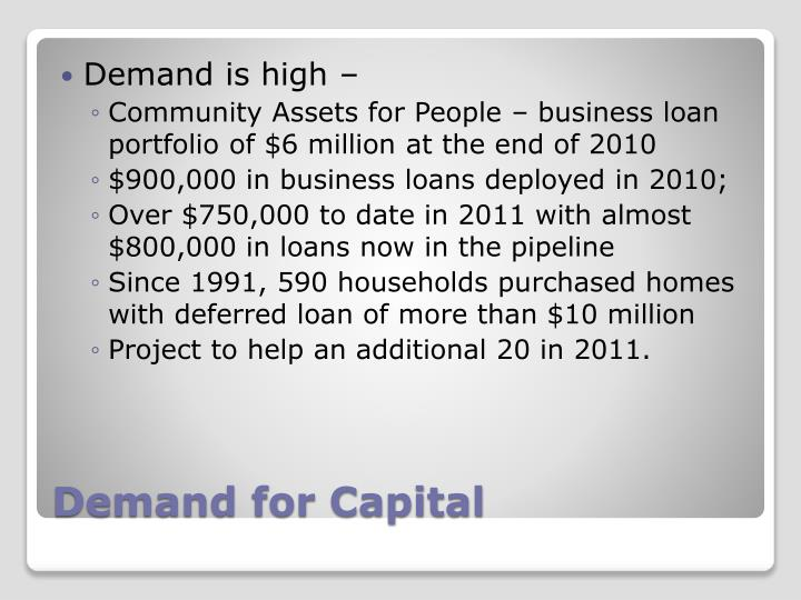 Demand is high –