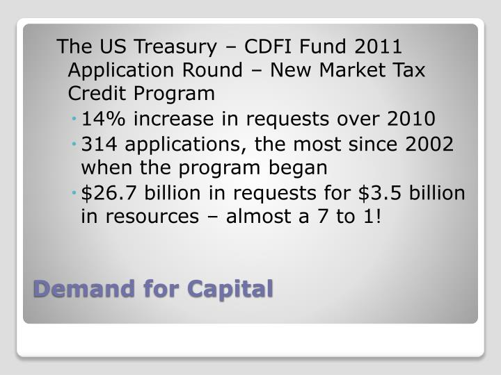 The US Treasury – CDFI Fund 2011 Application Round – New Market Tax Credit Program