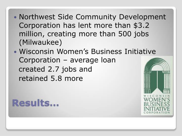Northwest Side Community Development Corporation has lent more than $3.2 million, creating more than 500 jobs (Milwaukee)
