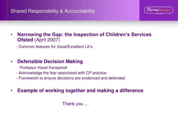 Shared Responsibility & Accountability