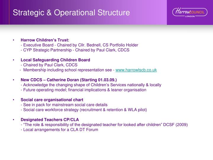 Strategic operational structure