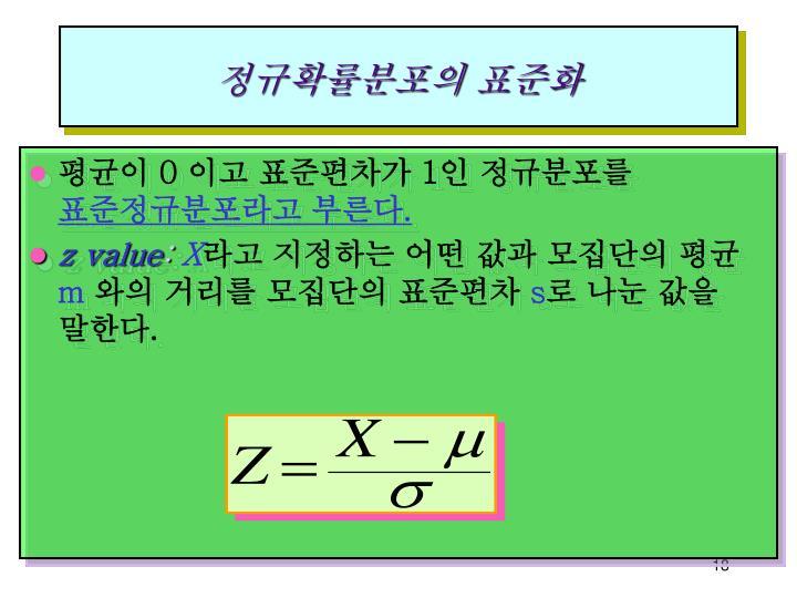 정규확률분포의 표준화