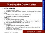 starting the cover letter