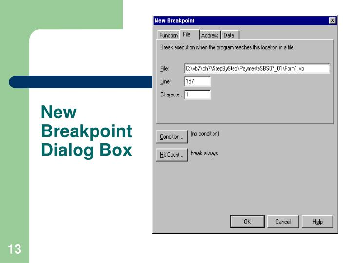 New Breakpoint Dialog Box