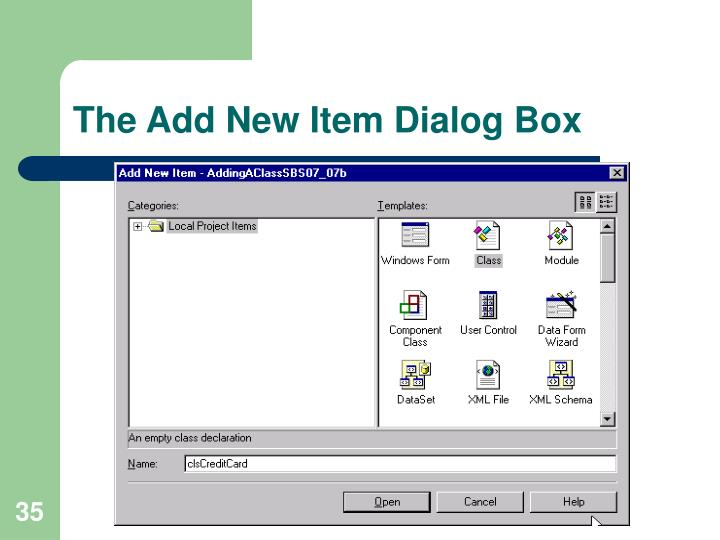 The Add New Item Dialog Box