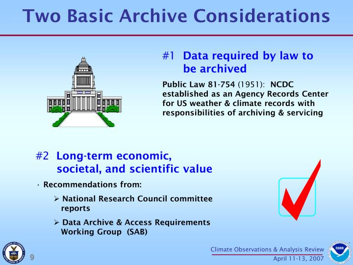 Two Basic Archive Considerations