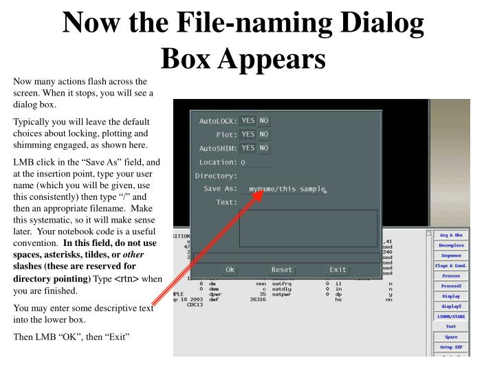 Now the File-naming Dialog Box Appears