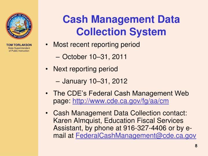 Cash Management Data Collection System