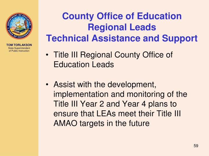 County Office of Education Regional Leads