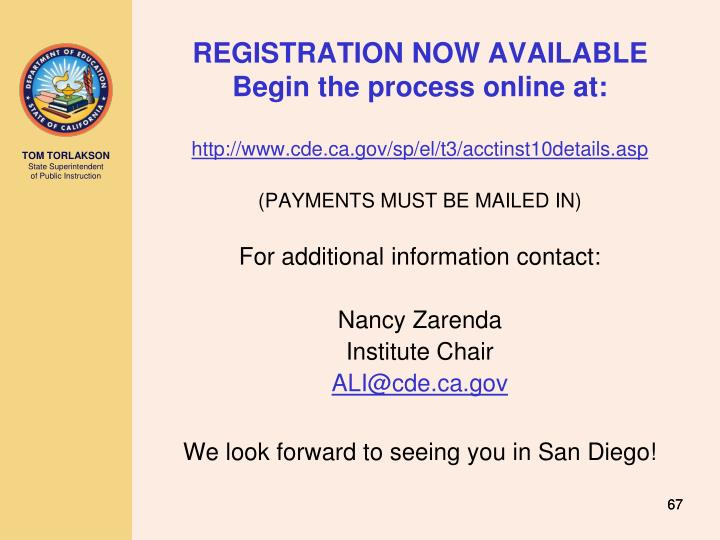 REGISTRATION NOW AVAILABLE