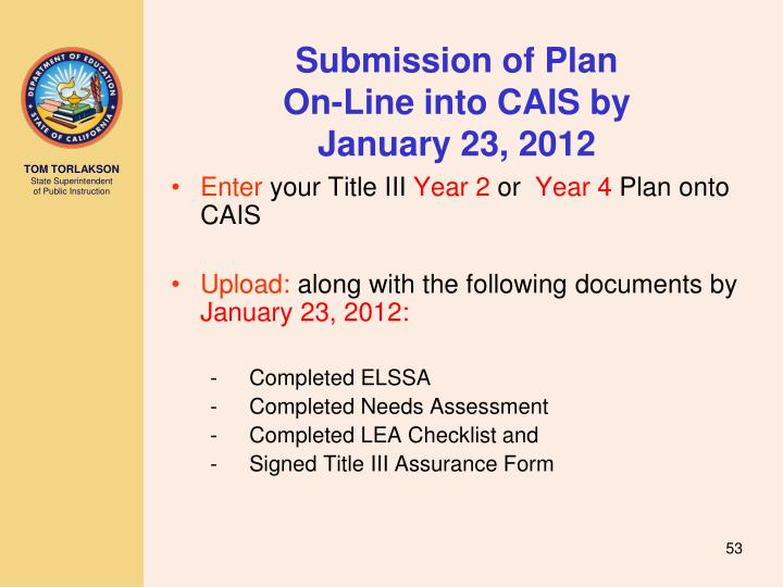 Submission of Plan