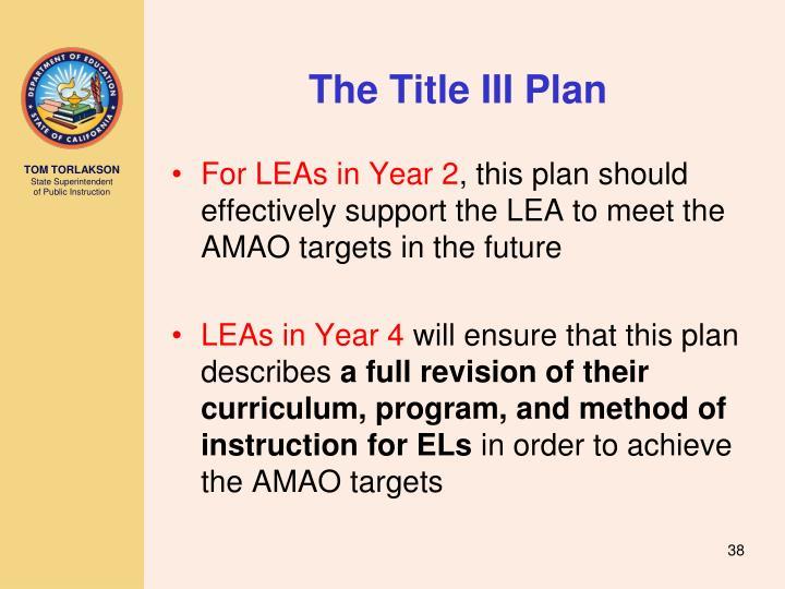 The Title III Plan