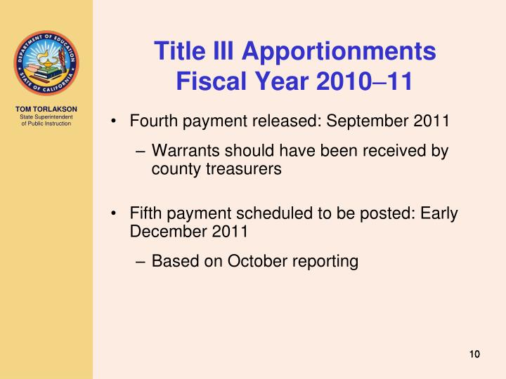 Title III Apportionments