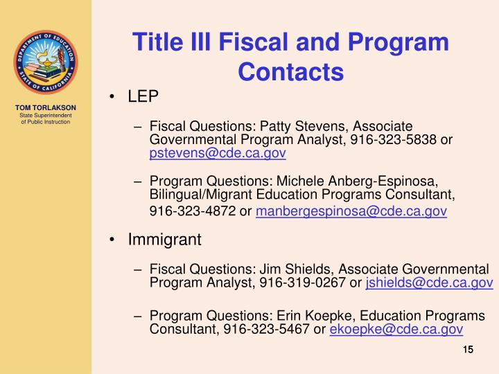 Title III Fiscal and Program Contacts