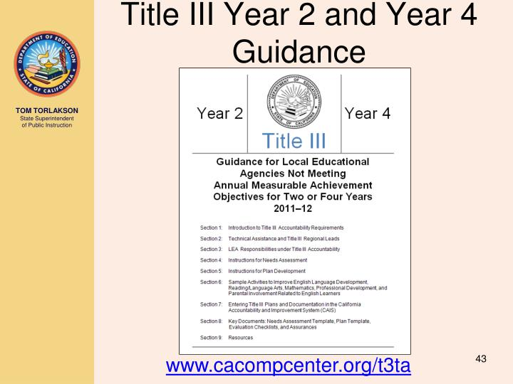 Title III Year 2 and Year 4 Guidance