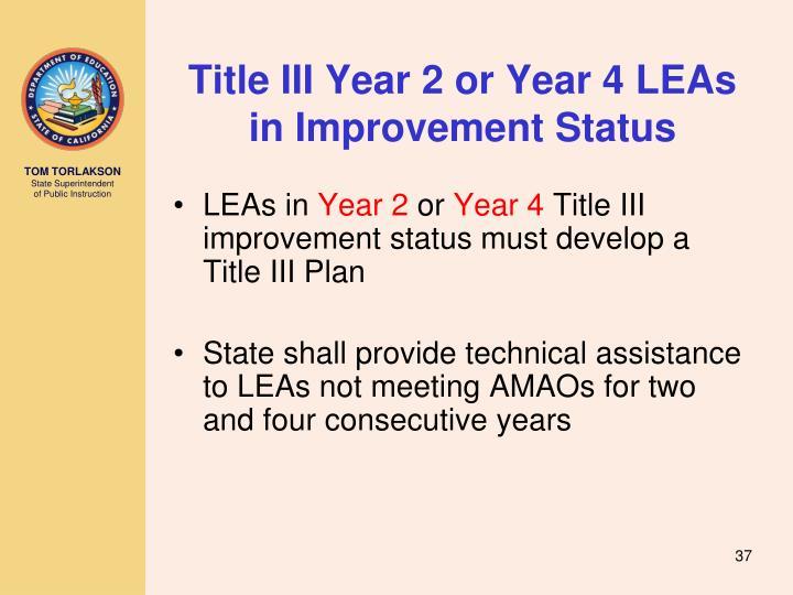 Title III Year 2 or Year 4 LEAs in Improvement Status