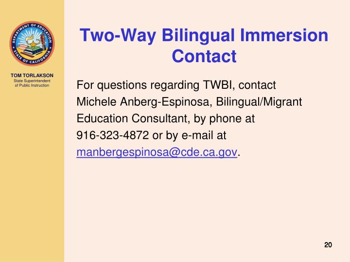 Two-Way Bilingual Immersion Contact