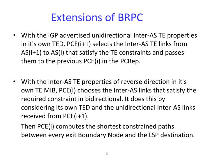 Extensions of brpc