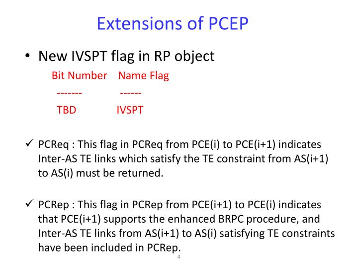 Extensions of PCEP