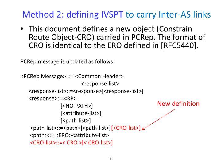 Method 2: defining IVSPT