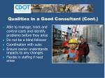 qualities in a good consultant cont