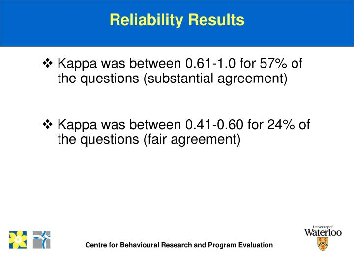 Reliability Results