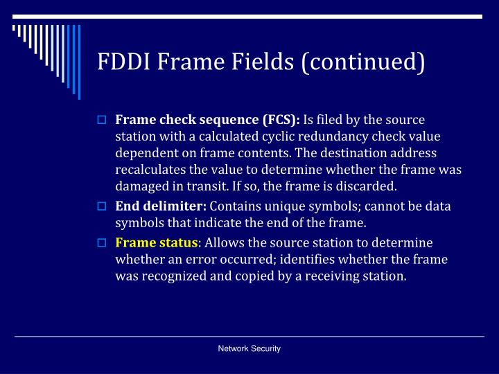 FDDI Frame Fields (continued)