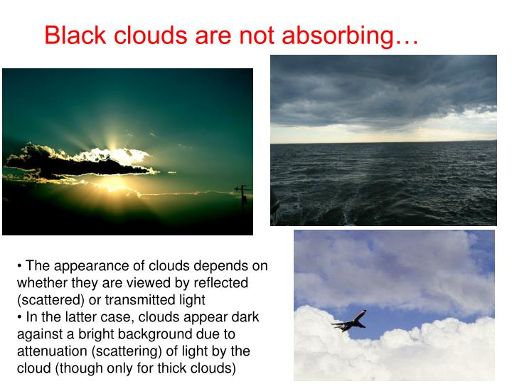 Black clouds are not absorbing…