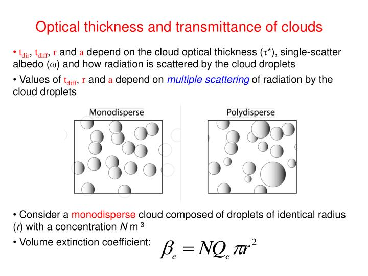 Optical thickness and transmittance of clouds