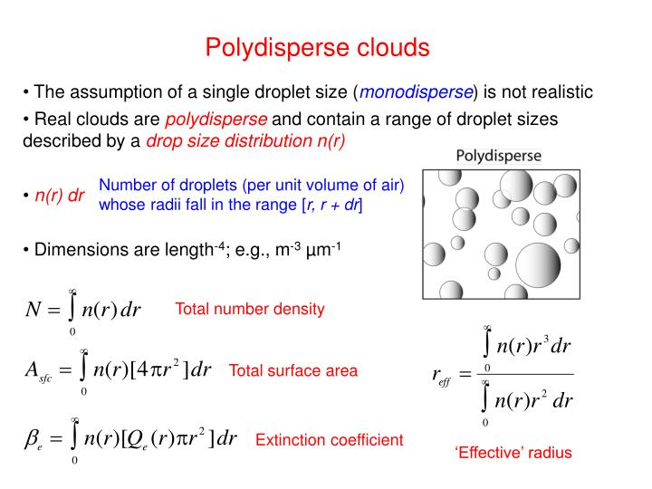 Polydisperse clouds