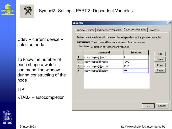 Symbol3: Settings, PART 3: Dependent Variables
