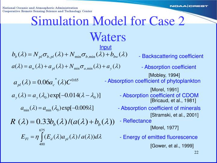 Simulation Model for Case 2 Waters