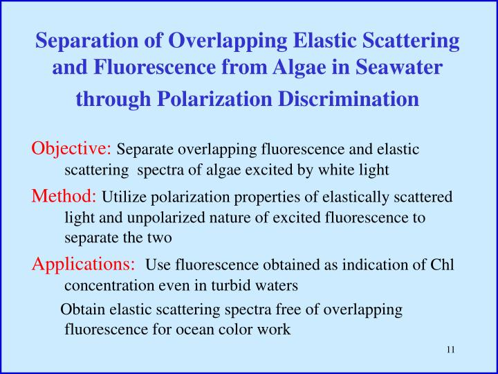 Separation of Overlapping Elastic Scattering and Fluorescence from Algae in Seawater through Polarization Discrimination