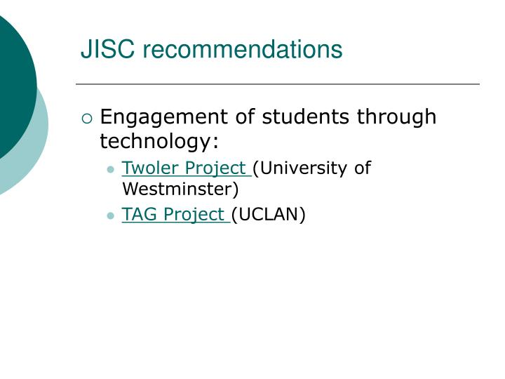 JISC recommendations