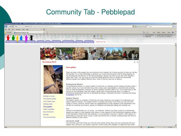 Community Tab - Pebblepad