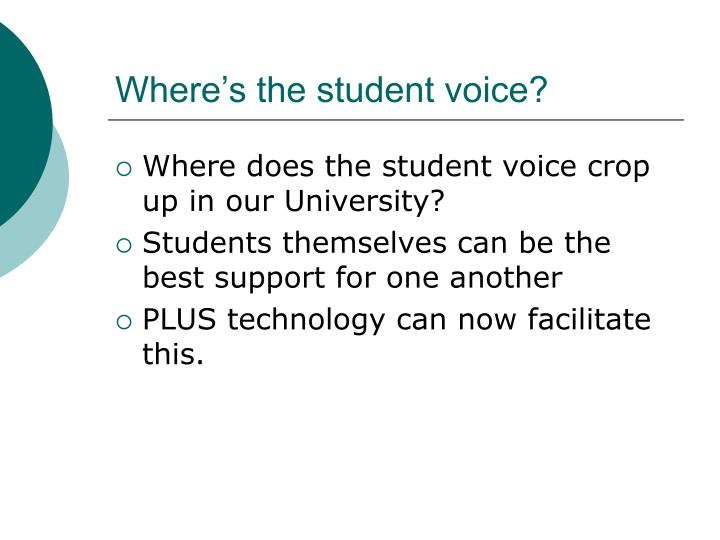 Where's the student voice?