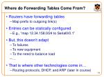 where do forwarding tables come from