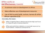 apdev works on aid effectiveness towards