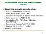 framework for abet provisioning continue