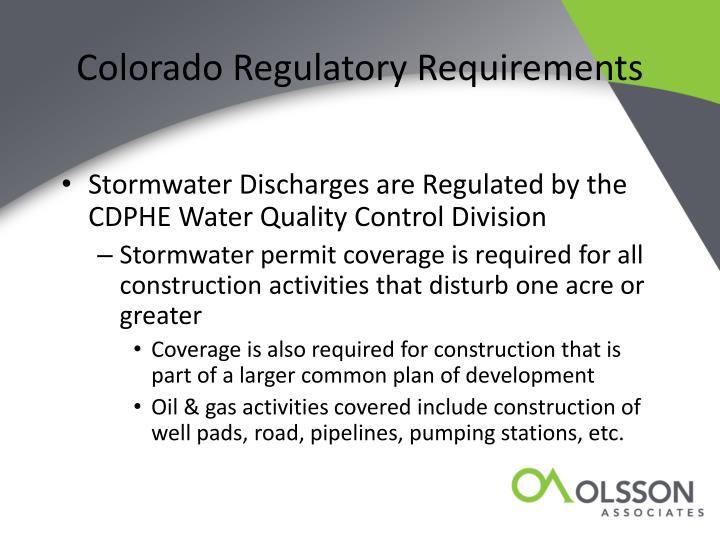 Colorado Regulatory Requirements