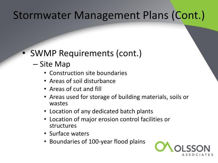 Stormwater Management Plans (Cont.)