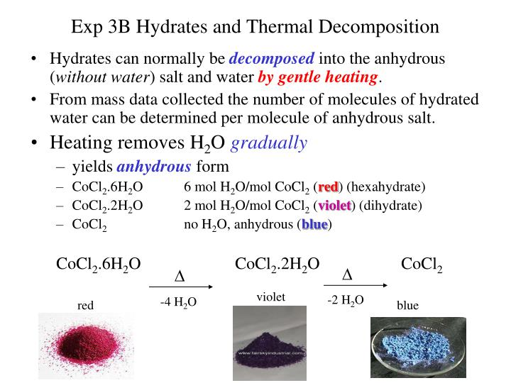 hydrates lab report Pre-laboratory assignment: properties of hydrates a student trying to determine if a white solid is a true hydrate heats the sample and finds that there is evolution of water, that the residue obtained is.