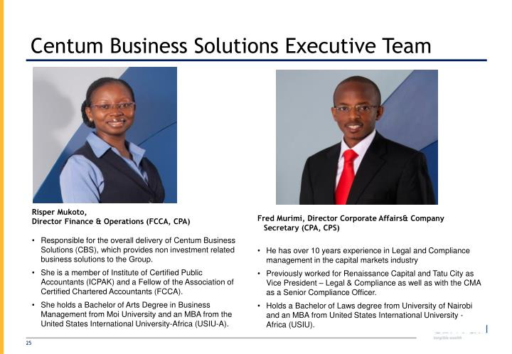 Centum Business Solutions Executive Team