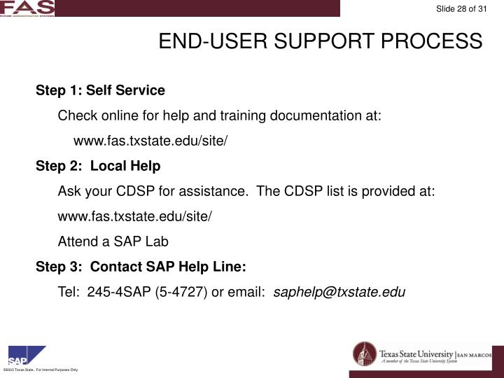 END-USER SUPPORT PROCESS